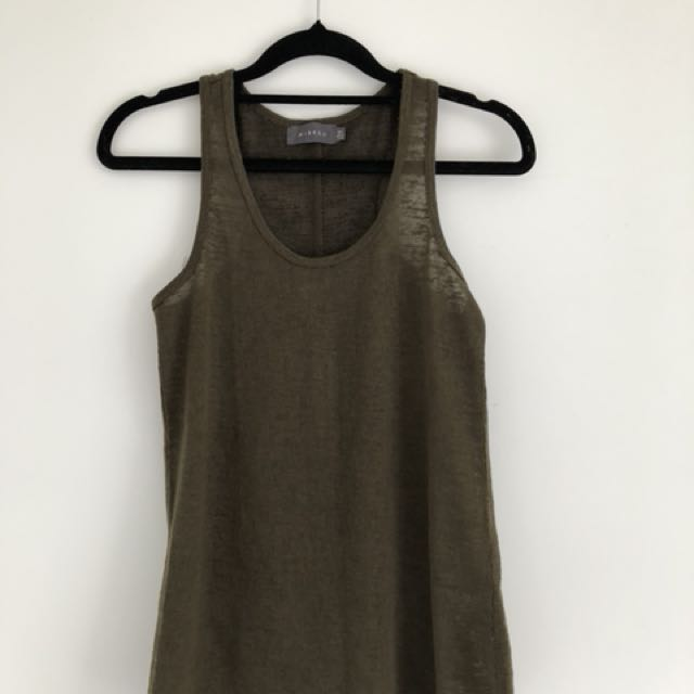 Mirrou Dark Green Sleeveless Top