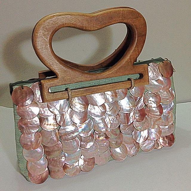 Native Bag Embellished With Capiz Shells