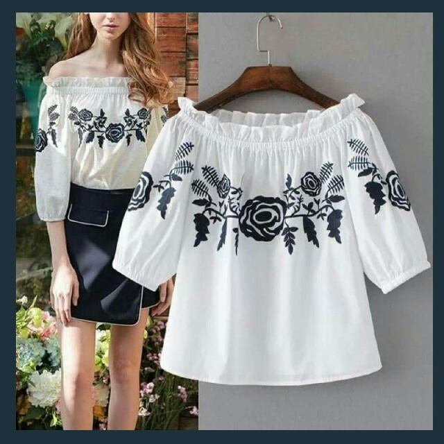 🎄New! Sale Price!  🎁 Great Gift Idea   Php390 only!  EMBROIDERED OFFSHOULDER WHITE TOP  📍Freesize: Fits Medium to Semi Large  📍1 Color: White  📍Pre-order