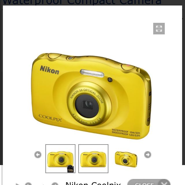 Nikon Coolpix W100 Yellow Waterproof Compact Camera