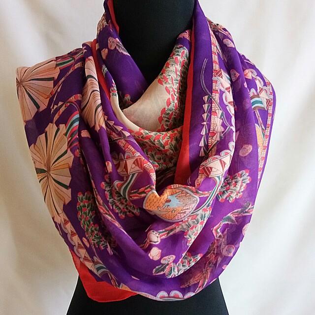 Pashmina / Syal Red Purple