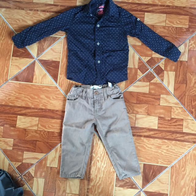 Preloved ootd original grezzly long sleeve and original peppermint pans sakto sa pasko size 1 to 2 years old