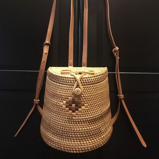 Rattan Brown Straw Backpack Bag