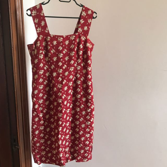 Red white summer dress