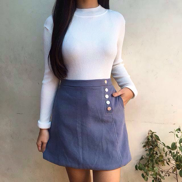 Set: Long Sleeves & High Waist Skirt