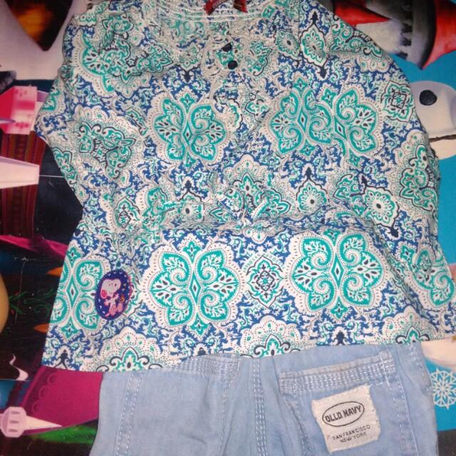 Setelan baju merk snoopy + jogger jeans old navy size 1-2 thn