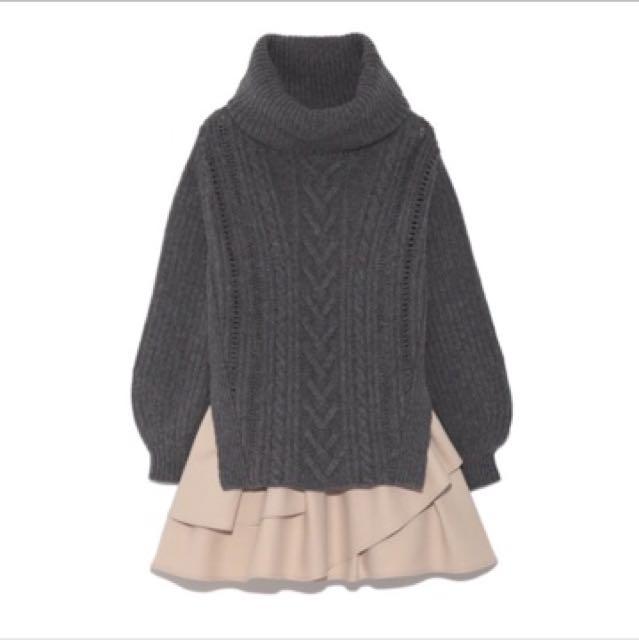 snidel 純羊毛高領針織衫毛衣+波浪裙洋裝