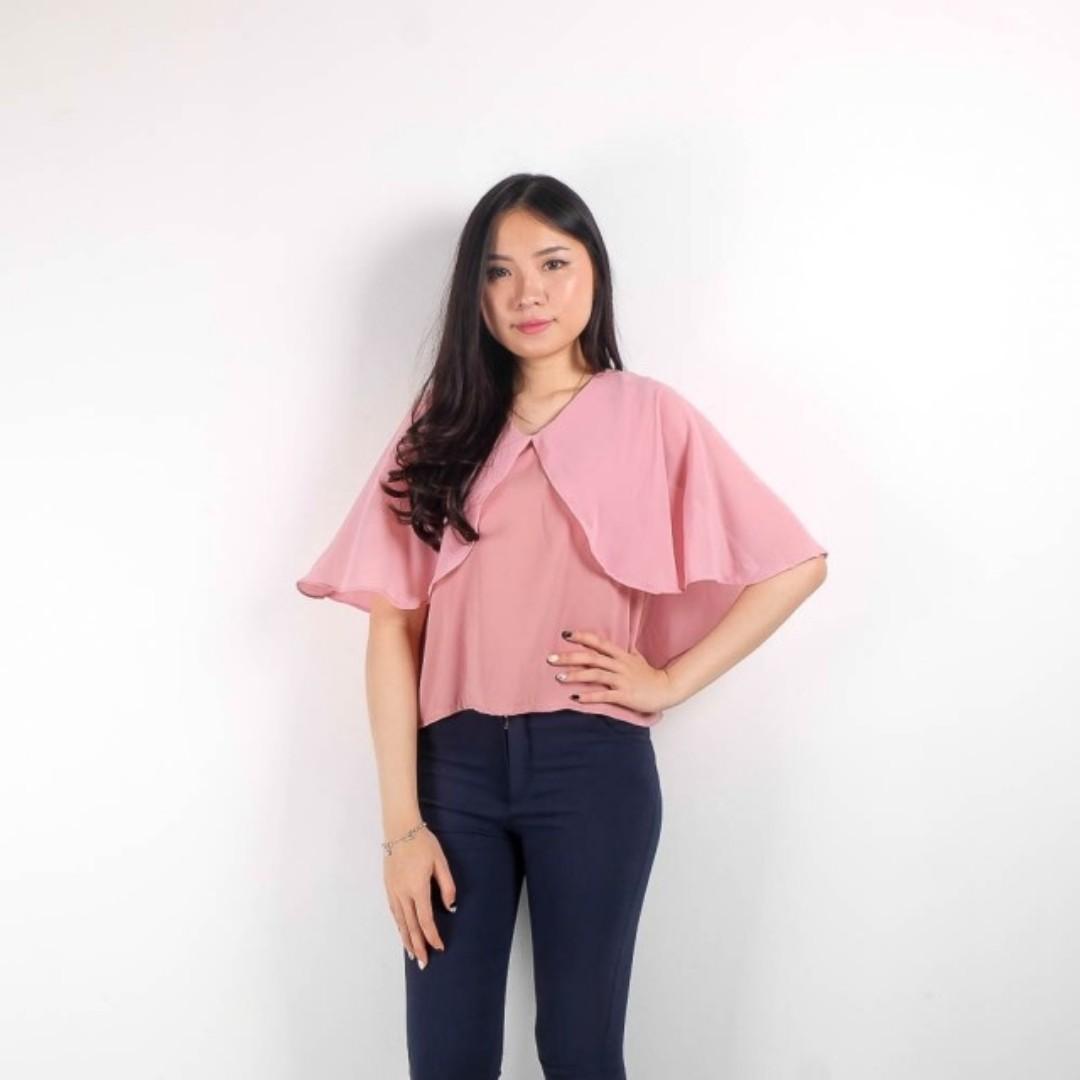 strawberry cape blouse