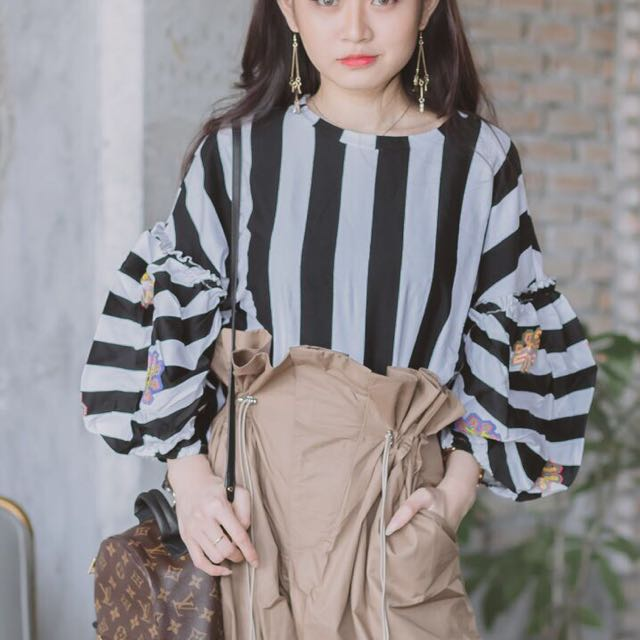 Stripe Top ( with flower details sleeves )