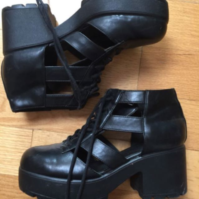 Topshop leather cutout booties