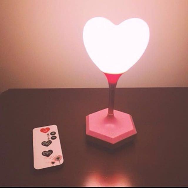Touch Sensor/Remote Control OKNANA Heart Shape Lamp, Furniture, Home Decor  On Carousell
