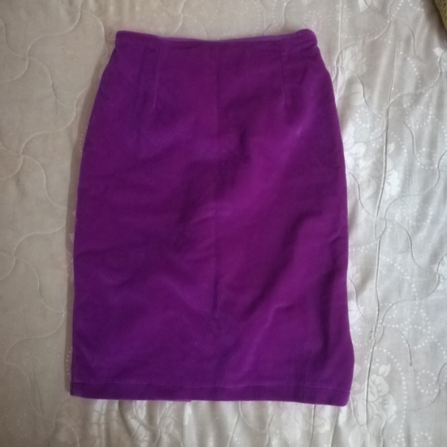 Velvet bodycon purple skirt