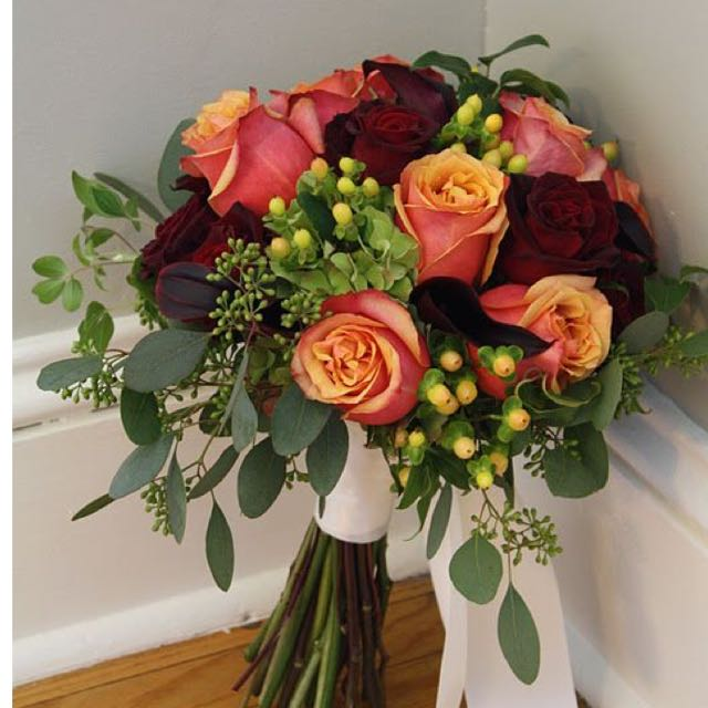 Vibrant Bridal Bouquet In Yellow Red Theme Wedding Flowers With