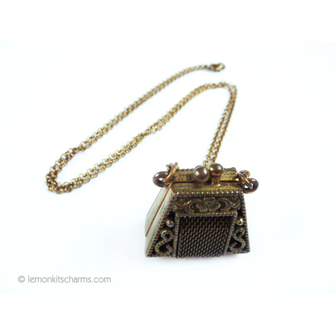 Vintage 1950s Purse Pendant Necklace, nk1030-c