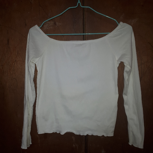 White Off Shoulder Scallop Long Sleeves