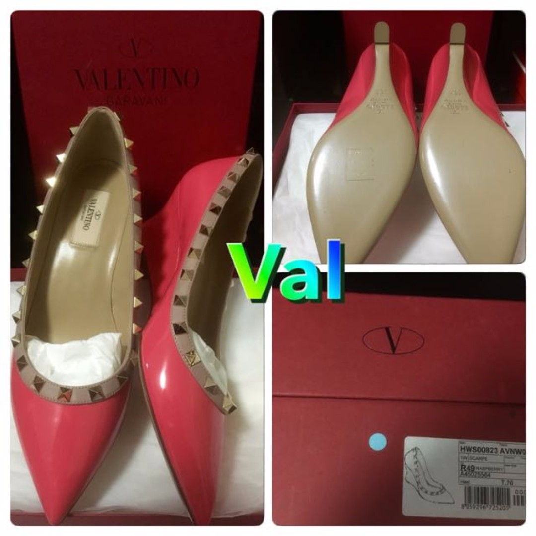 *XMAS SALE *- AUTH NEW  UNWORN Valentino Hot Pink Wedge Rockstud Shoes
