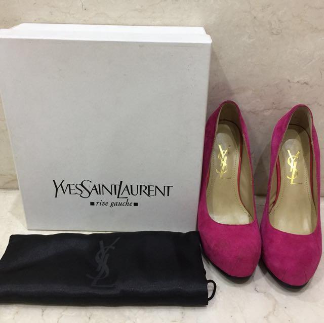 YSL replica high heel sepatu hak tinggi pink suede sz 37
