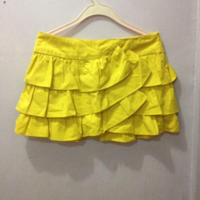 Zara yellow mini skirt