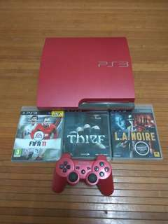 PS3 Slim Red + 3 Games