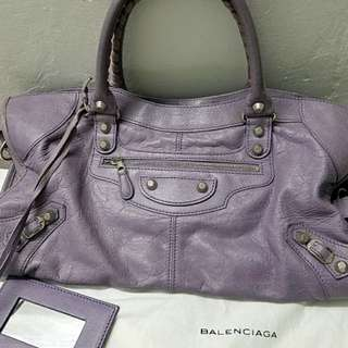 平清Lavender Balenciaga city bag 巴黎世家 機車包
