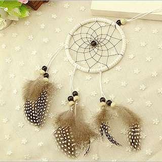 印第安 Dreamcatcher黑白珍珠羽毛款 純手工捕夢網 特價$75 * 最後一件