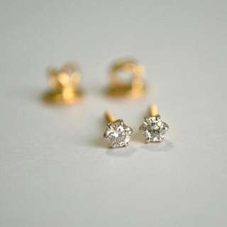 Small Diamond Stud Gold Earrings (Non-tarnish)