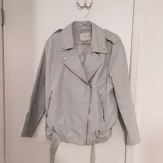 OAK + FORT - Light Blue/Grey Biker Jacket (One Size)