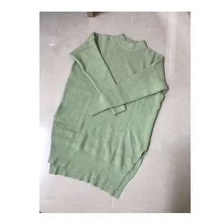 轉賣 粉綠色重磅質感連身毛衣