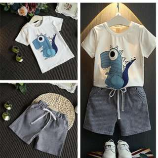 Boys Clothes Set Dinosaur T-Shirt Striped Shorts Children