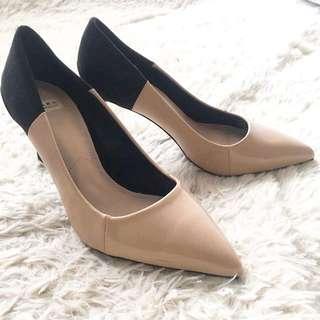 Zara撞色拼接高跟鞋