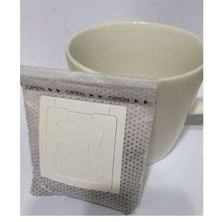日本專利設計 掛耳式濾掛式濾紙 窄版 1入 (尺寸:寬:7.5cm x長: 9cm) 咖啡濾袋