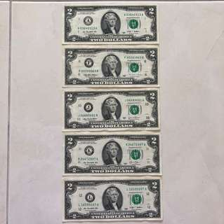 USD 2 Notes, from 5 of 12 Districts (A, F, J, K, L) Front portrait: Thomas Jefferson Back Portrait: Declaration of Independence 1776
