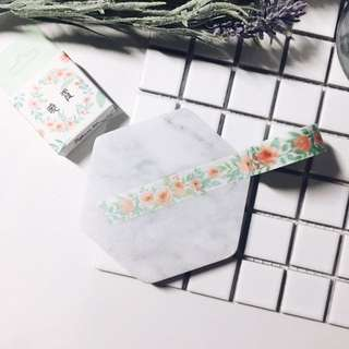 #111 Mint Green Floral Washi Tape