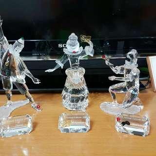 施華洛小丑三步曲連原裝水晶名牌和木座(小丑,公主和將軍)