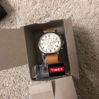 Timex 軟皮手錶 三眼 大錶盤