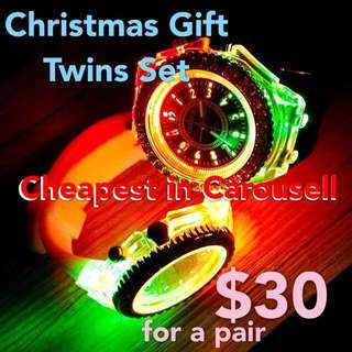 Christmas promo/merry xmas offer/couple/friendship/twins watch/korean watches/pair/led/light