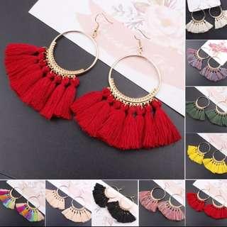 New Women Bohemian Earrings Long Tassel Fringe Hoop