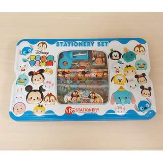 ($5 Christmas Gift Idea) Disney Tsum Tsum Metal Pop-out Pencil Box with Time Table and 6 Stationery Gift Set