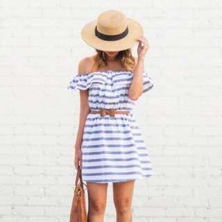 Off shoulder Mini Dress with belt included