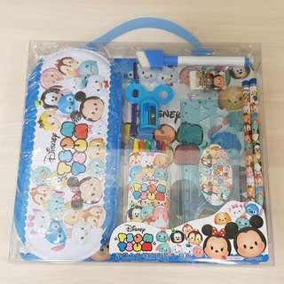 ($5 Christmas Gift Idea) Disney Tsum Tsum 8 in 1 Stationery Gift Set with Colouring Crayon and Whiteboard Combo