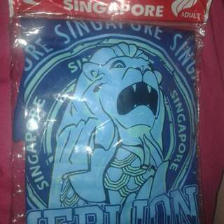 Blue T-shirt Top with Merlion print from Singapore (unisex)