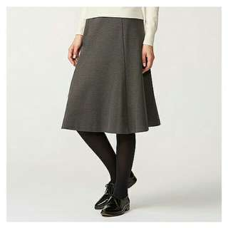 UNIQLO 灰色針織裙 過膝裙 A字裙