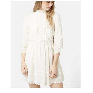 TopShop Off White Victoria High Neck Embroidery Dress