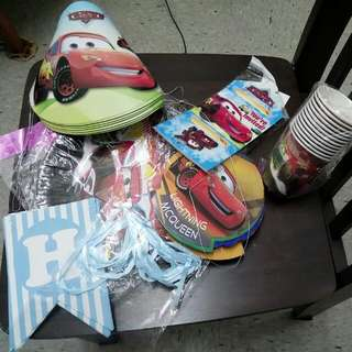Lightning Mcqueen Birthday Theme (Paper Plates, Paper Cups, Hat, Happy Birthday Letters)