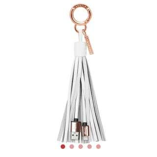 🌟全新 100% 正貨 Casetify Leather Tassel Lightning Charging Cable - Milk