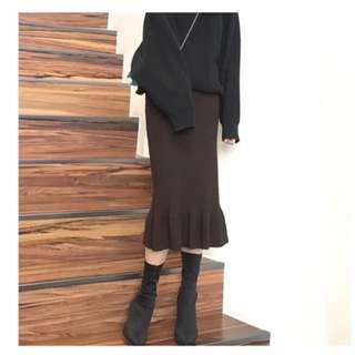 高腰針織魚尾裙