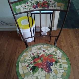 Metal & Mosaic Tile Folding Chair