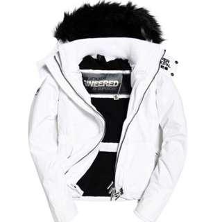 [ 極度乾燥 ] 2017最新款女生-連帽保暖外套(白色M)