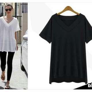 💋Cotton Side Split Top 💫Cotton fabric, soft comfy  💫V-neck  💫Side split low high hemline  💫Free size, loose fits up to L 💫3 colors  💫Nice quality