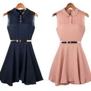 💋Chiffon Doll Dress with Belt  💫Chiffon with lining, soft comfy  💫Front buttons 💫Back zipper  💫Belt included  💫Free size fits S-M 💫2 colors  💫Good quality